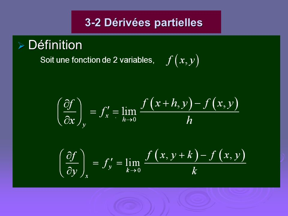 3-2 Dérivées partielles Définition Soit une fonction de 2 variables, ,
