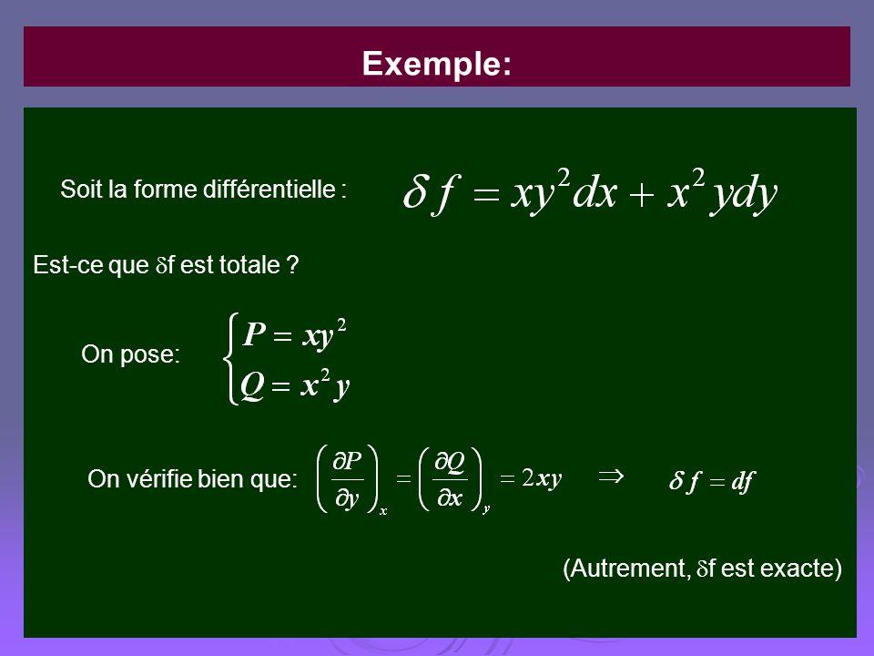 Exemple: Soit la forme différentielle : Est-ce que f est totale