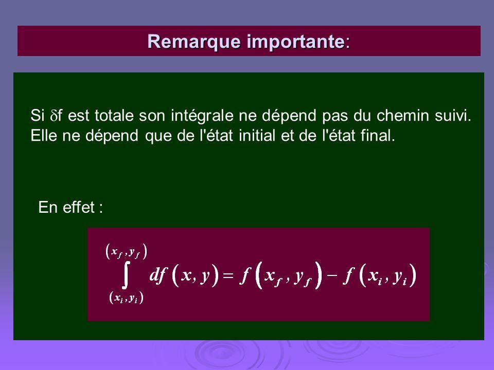 Remarque importante: Si f est totale son intégrale ne dépend pas du chemin suivi. Elle ne dépend que de l état initial et de l état final.