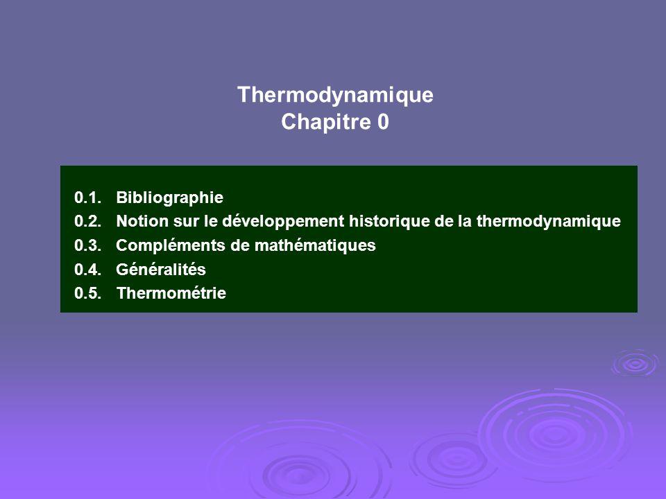 Thermodynamique Chapitre 0