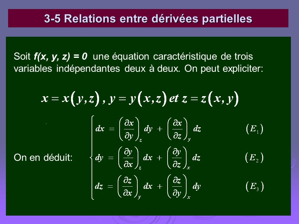 3-5 Relations entre dérivées partielles