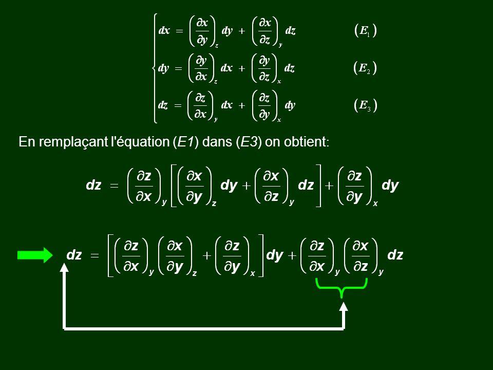 En remplaçant l équation (E1) dans (E3) on obtient: