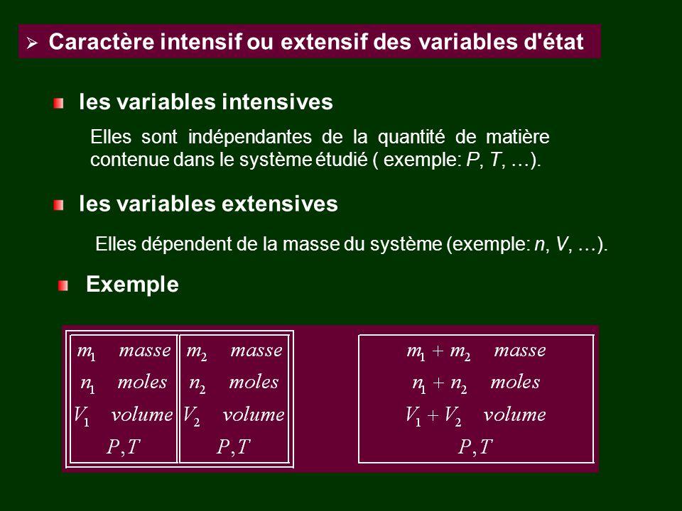 Elles dépendent de la masse du système (exemple: n, V, ).
