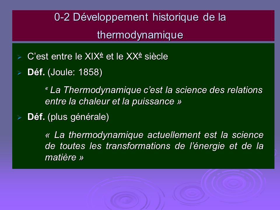0-2 Développement historique de la thermodynamique
