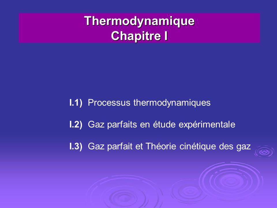 Thermodynamique Chapitre I