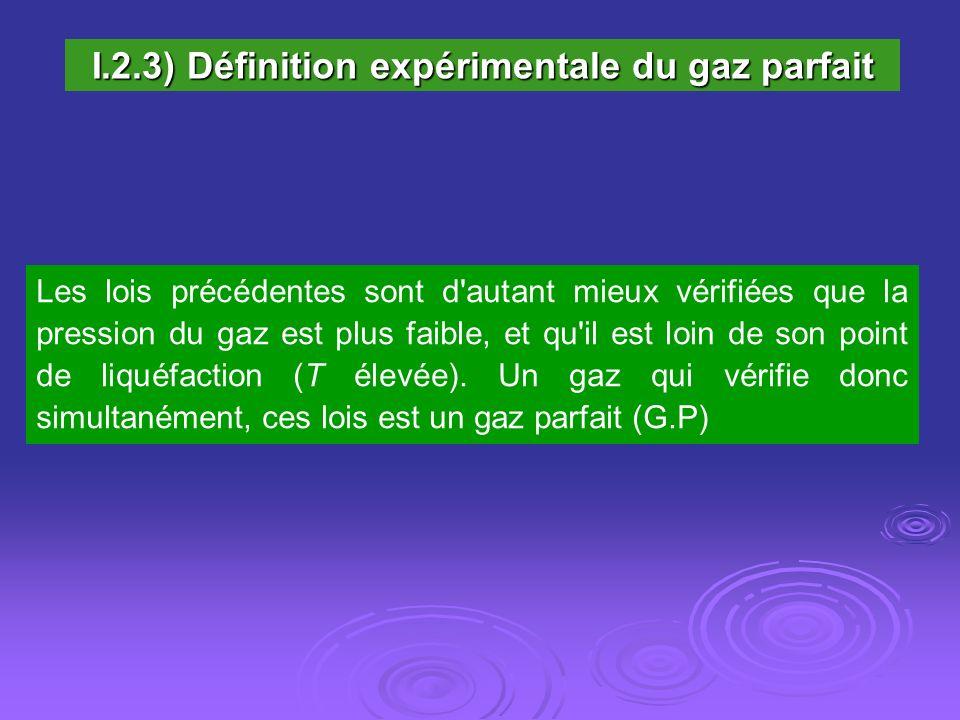 I.2.3) Définition expérimentale du gaz parfait
