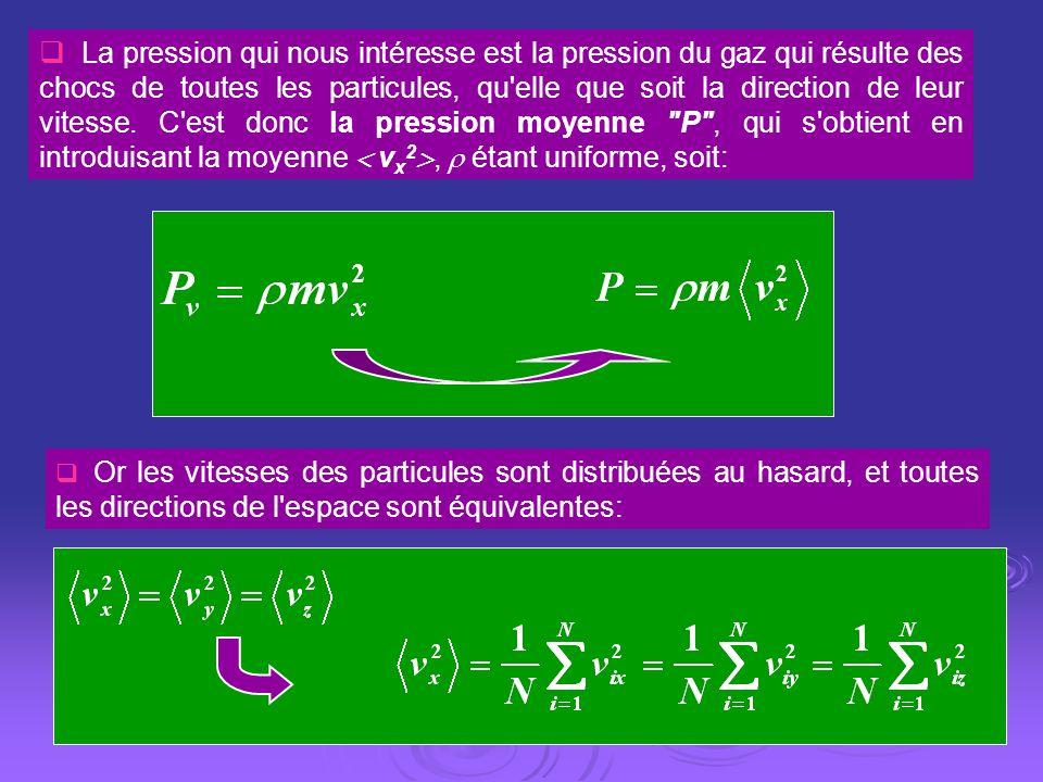 La pression qui nous intéresse est la pression du gaz qui résulte des chocs de toutes les particules, qu elle que soit la direction de leur vitesse. C est donc la pression moyenne P , qui s obtient en introduisant la moyenne  vx2,  étant uniforme, soit: