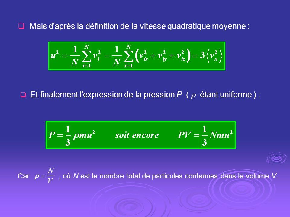 Mais d après la définition de la vitesse quadratique moyenne :