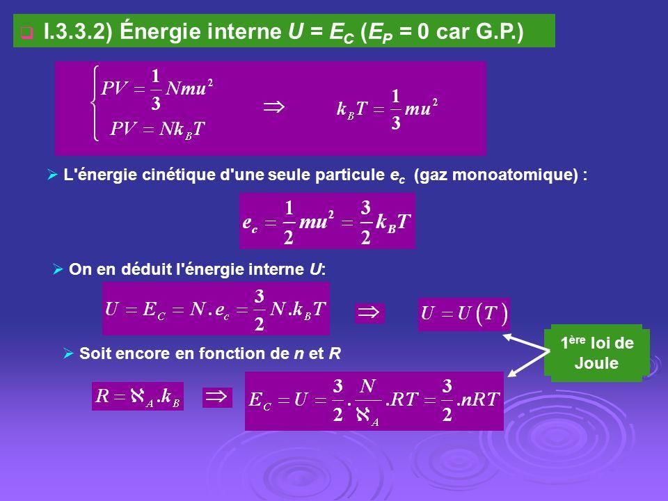 I.3.3.2) Énergie interne U = EC (EP = 0 car G.P.)