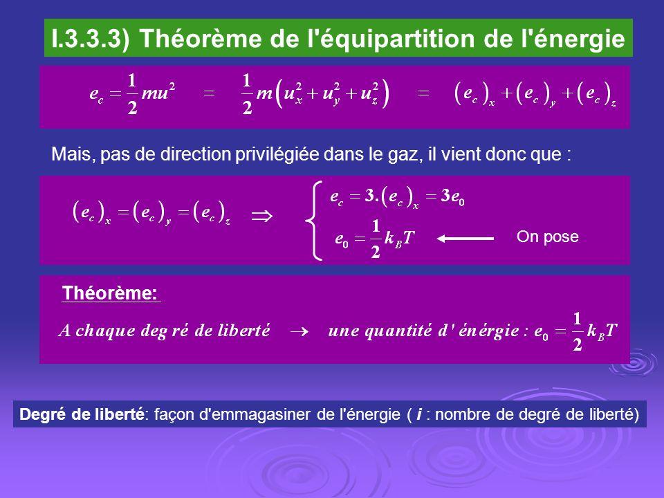 I.3.3.3) Théorème de l équipartition de l énergie