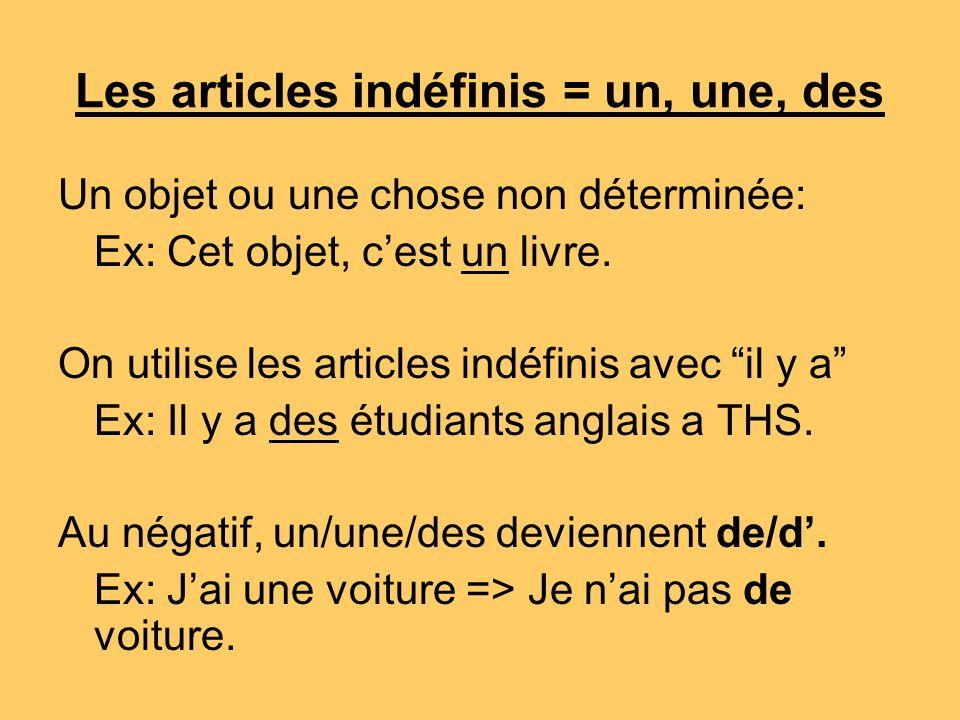 Les articles indéfinis = un, une, des