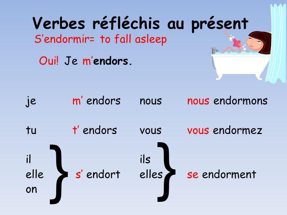 } } Verbes réfléchis au présent S'endormir= to fall asleep