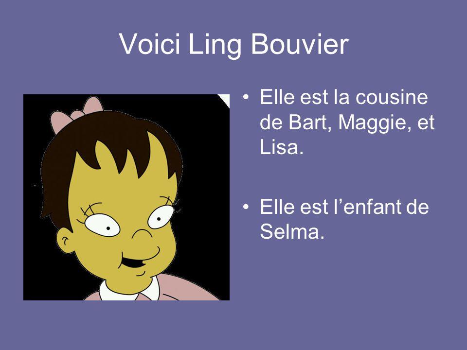 Voici Ling Bouvier Elle est la cousine de Bart, Maggie, et Lisa.