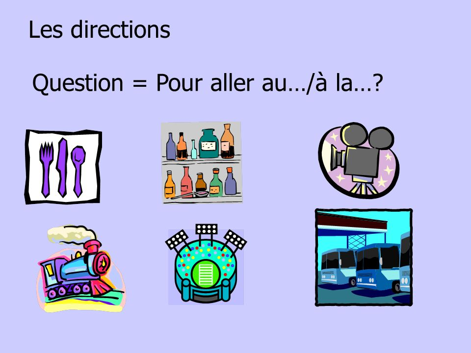 Les directions Question = Pour aller au…/à la…