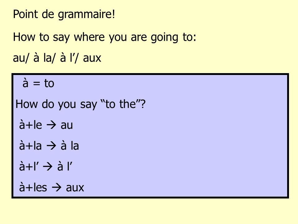 Point de grammaire! How to say where you are going to: au/ à la/ à l'/ aux. à = to. How do you say to the