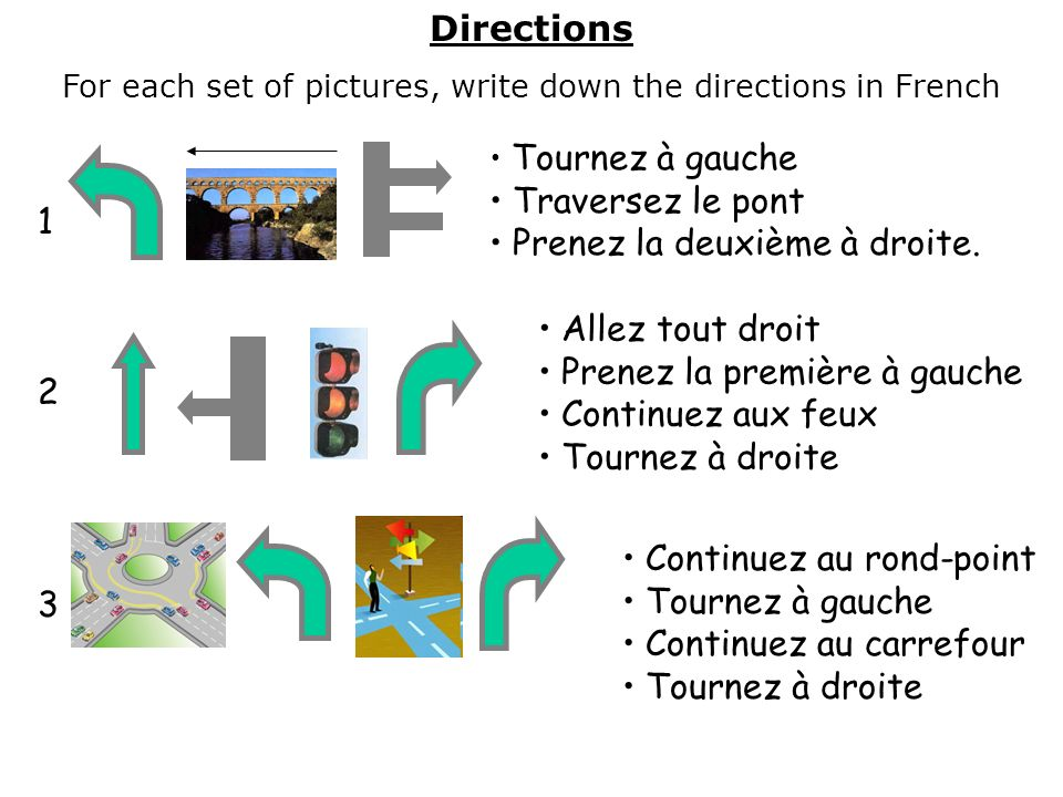 For each set of pictures, write down the directions in French