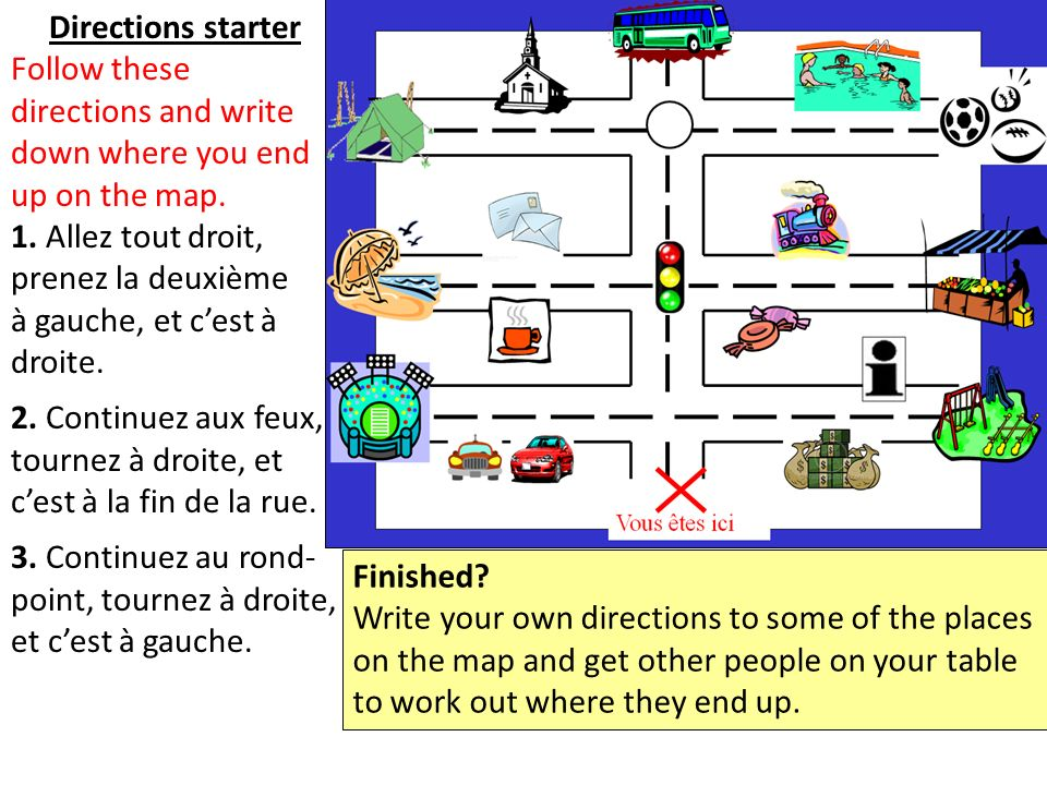 Directions starter Follow these directions and write down where you end up on the map.