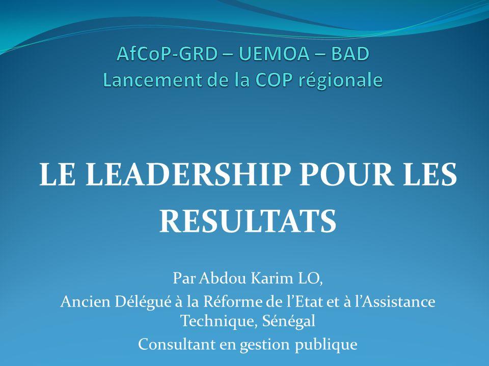 AfCoP-GRD – UEMOA – BAD Lancement de la COP régionale