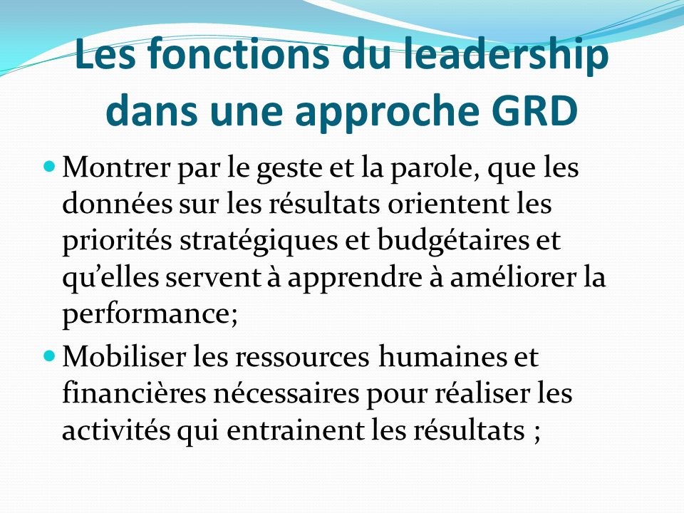 Les fonctions du leadership dans une approche GRD