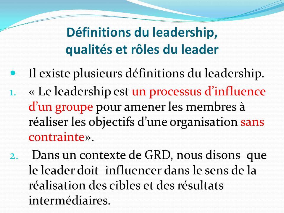 Définitions du leadership, qualités et rôles du leader