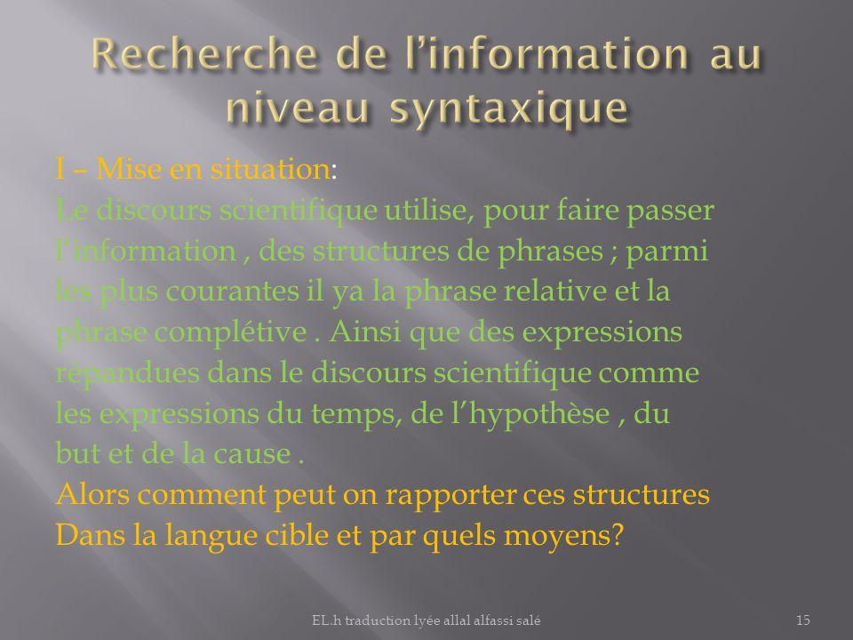 Recherche de l'information au niveau syntaxique