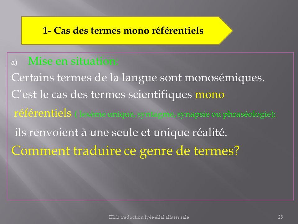 1- Cas des termes mono référentiels