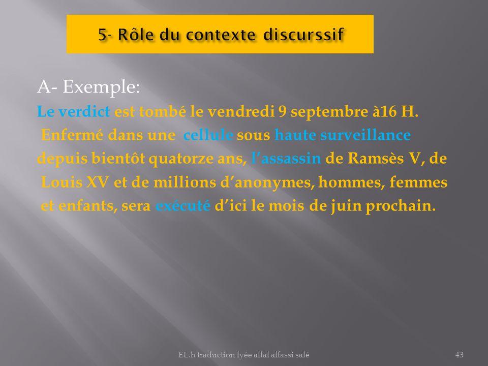 5- Rôle du contexte discurssif