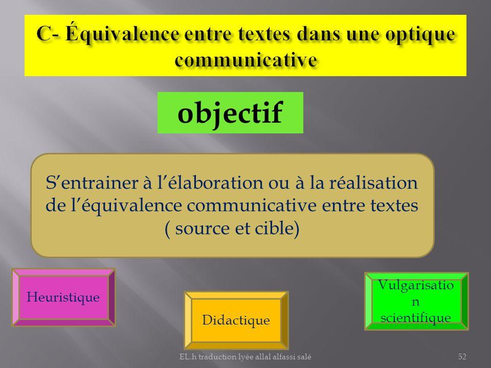 C- Équivalence entre textes dans une optique communicative