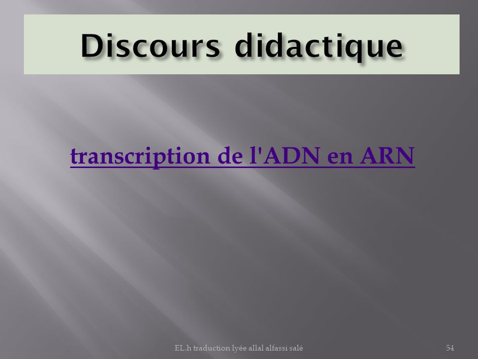 transcription de l ADN en ARN