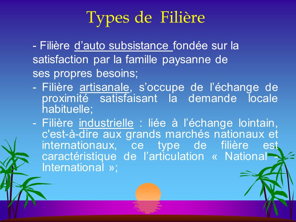Types de Filière - Filière d'auto subsistance fondée sur la