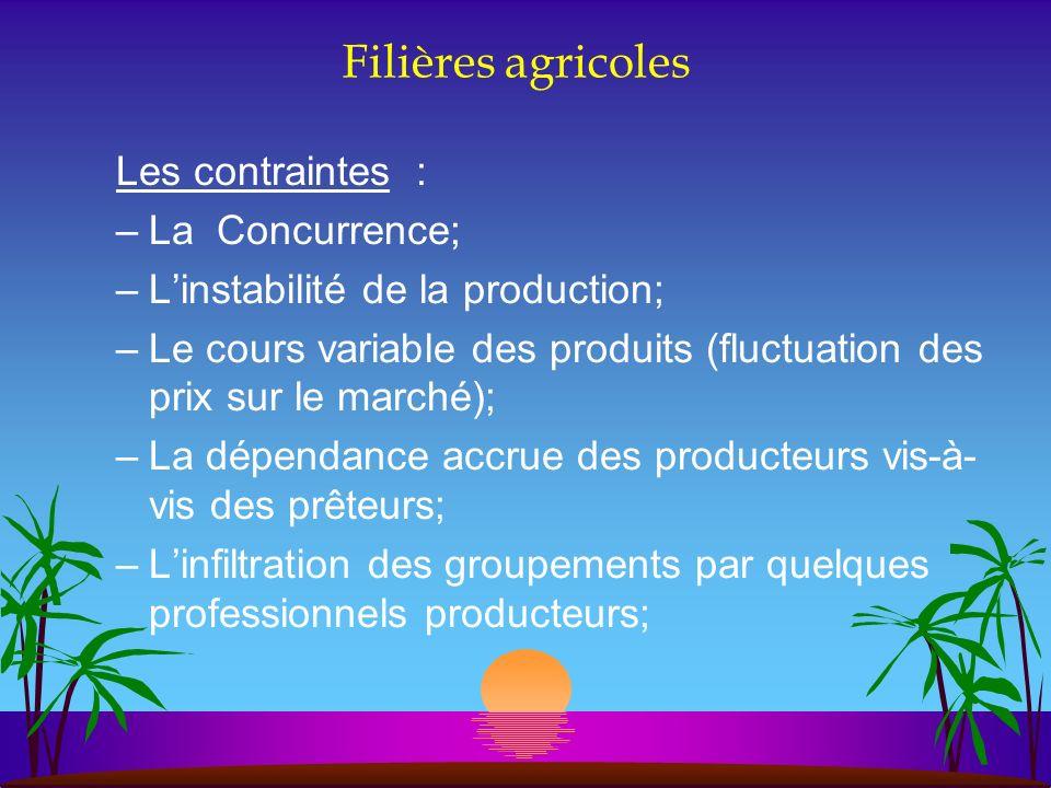 Filières agricoles Les contraintes : La Concurrence;