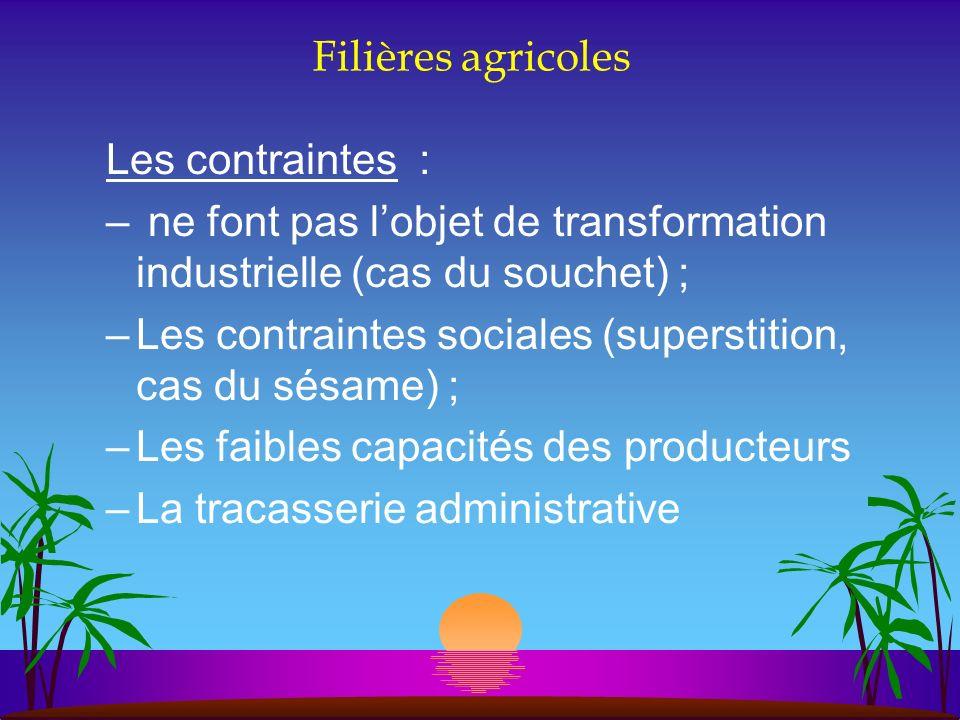 Filières agricoles Les contraintes : ne font pas l'objet de transformation industrielle (cas du souchet) ;