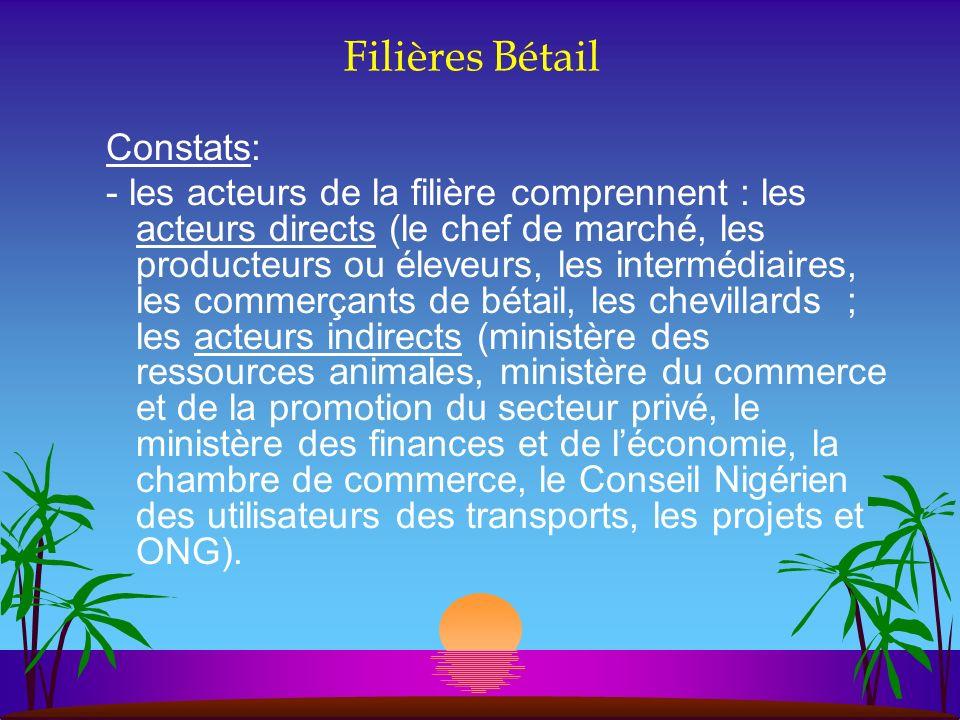 Filières Bétail Constats: