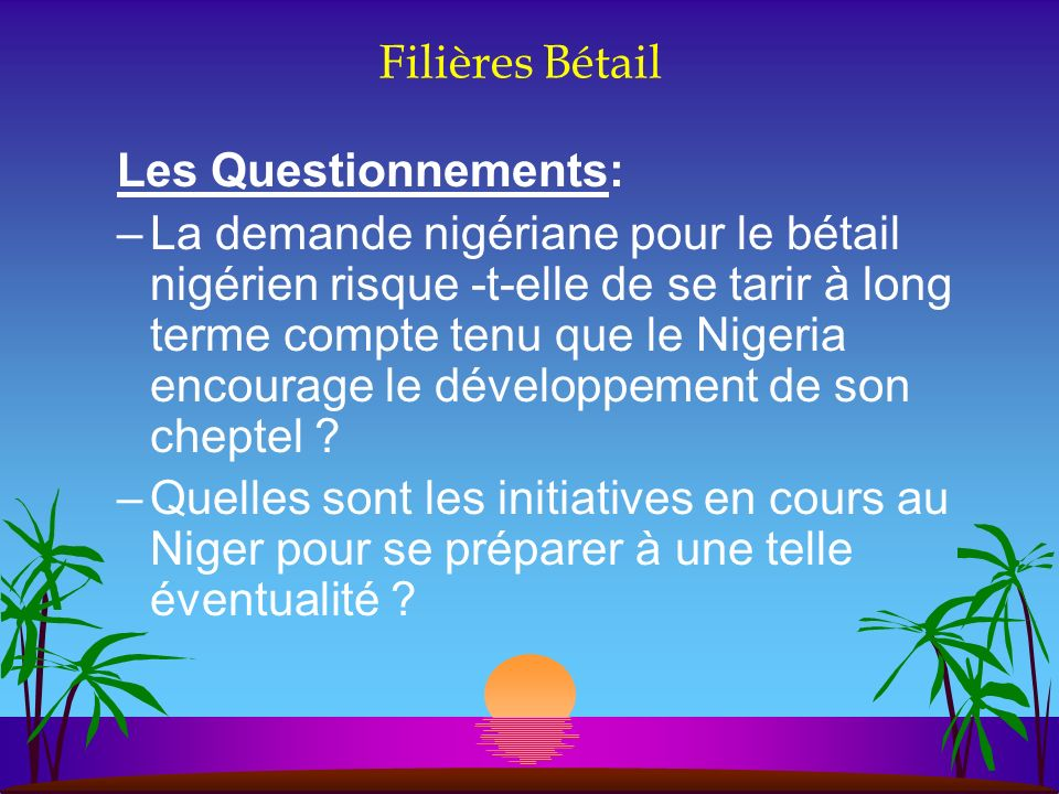 Filières Bétail Les Questionnements: