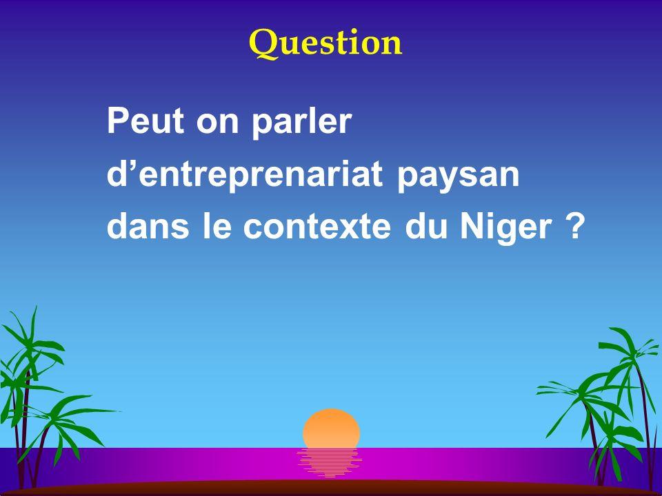 Question Peut on parler d'entreprenariat paysan dans le contexte du Niger