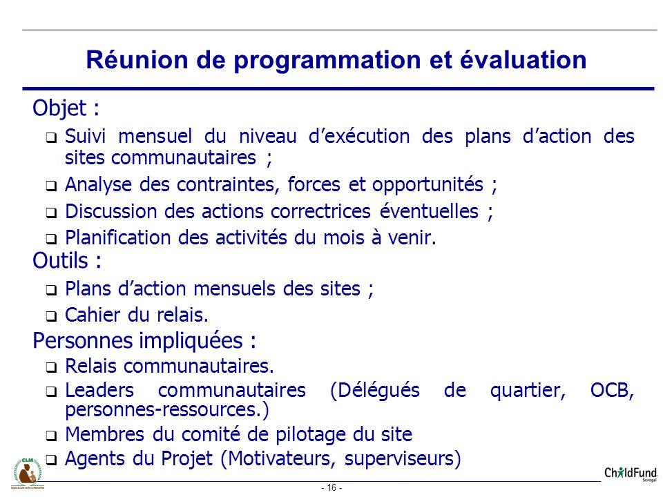 Réunion de programmation et évaluation