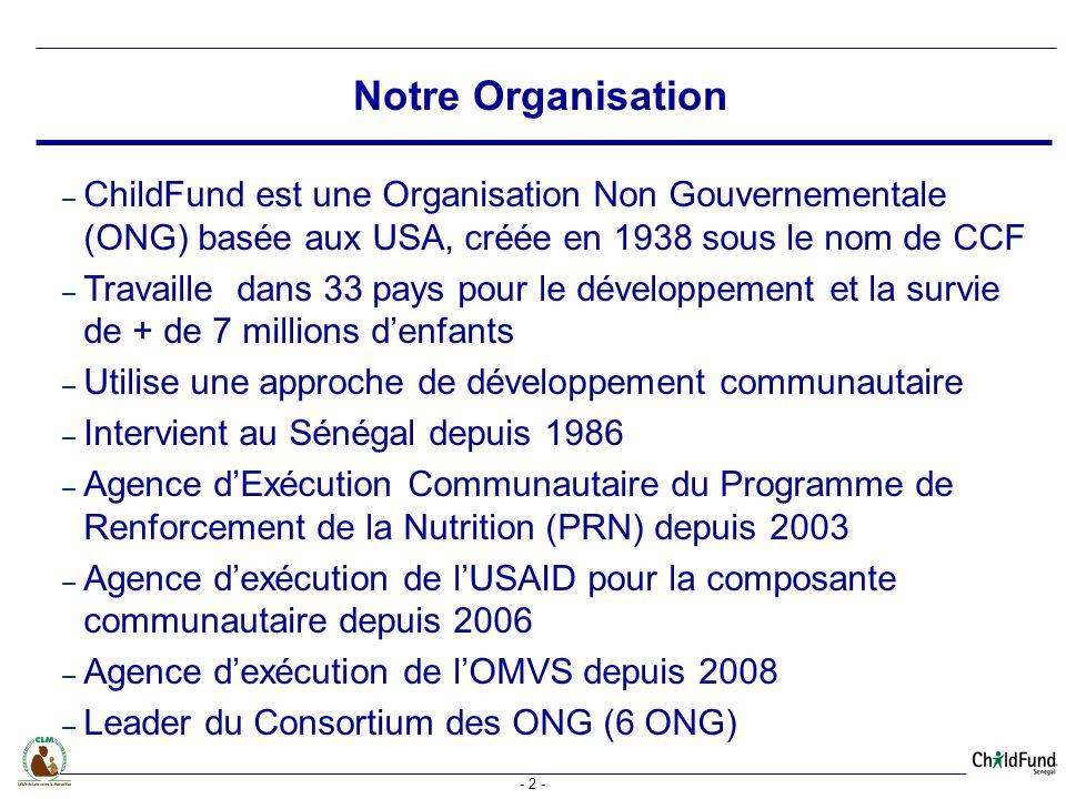 Notre Organisation ChildFund est une Organisation Non Gouvernementale (ONG) basée aux USA, créée en 1938 sous le nom de CCF.