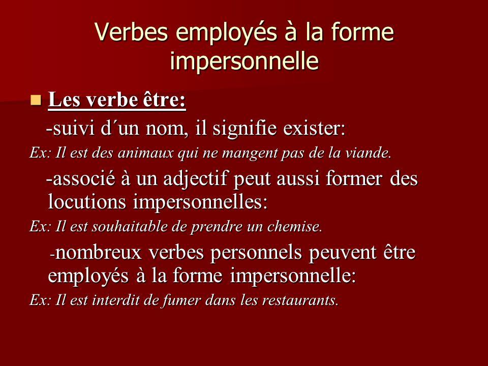 Verbes employés à la forme impersonnelle