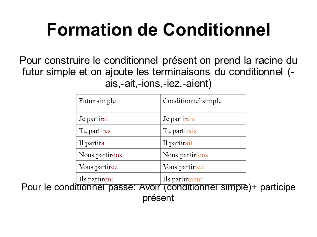 Formation de Conditionnel