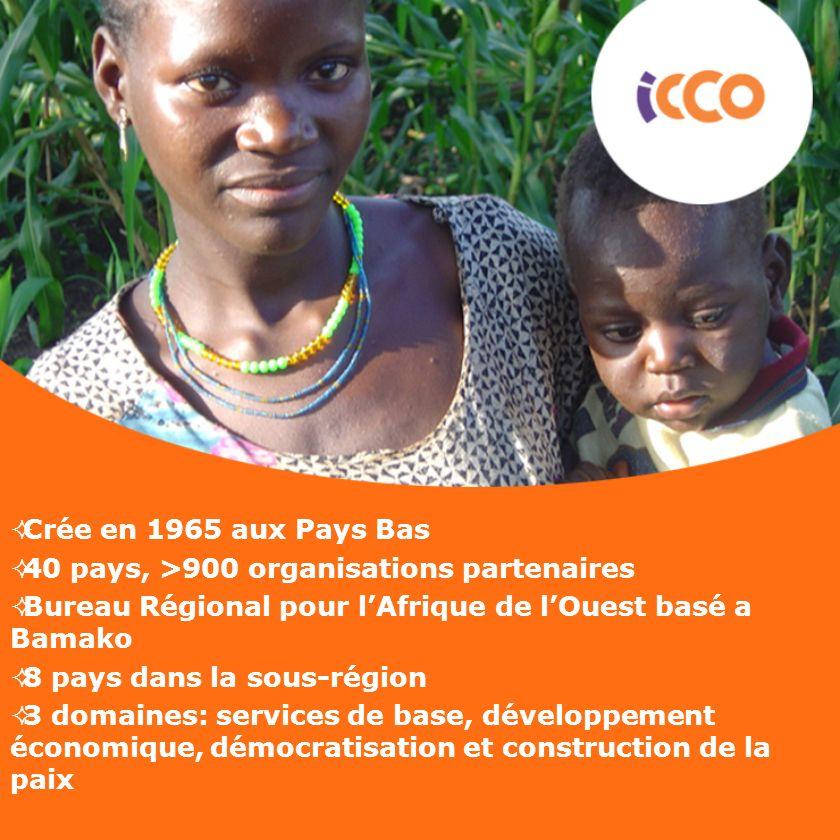 Crée en 1965 aux Pays Bas40 pays, >900 organisations partenaires. Bureau Régional pour l'Afrique de l'Ouest basé a Bamako.