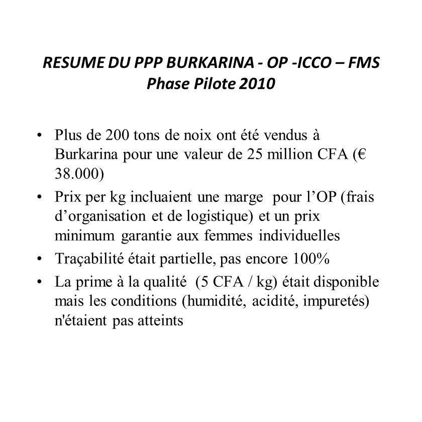 RESUME DU PPP BURKARINA - OP -ICCO – FMS Phase Pilote 2010