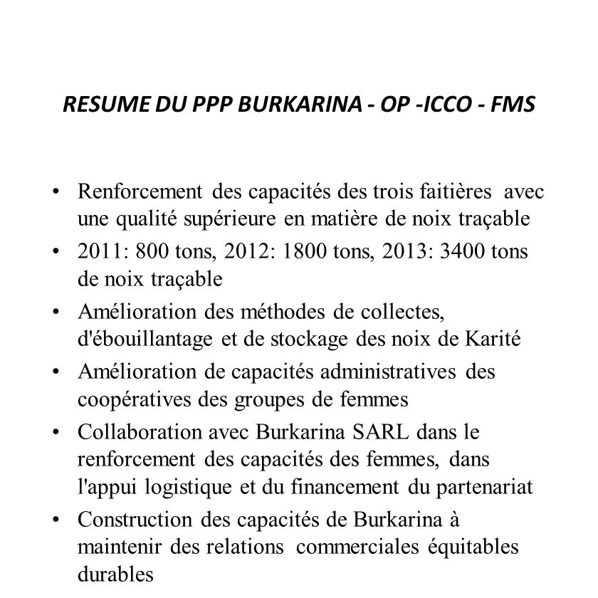 RESUME DU PPP BURKARINA - OP -ICCO - FMS