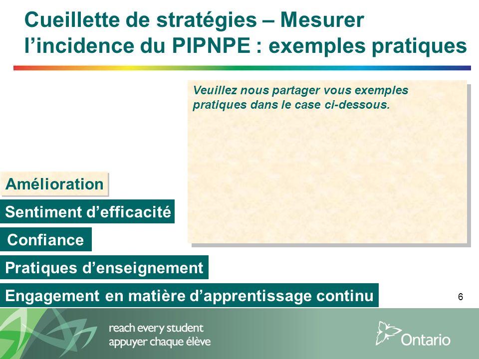 Cueillette de stratégies – Mesurer l'incidence du PIPNPE : exemples pratiques