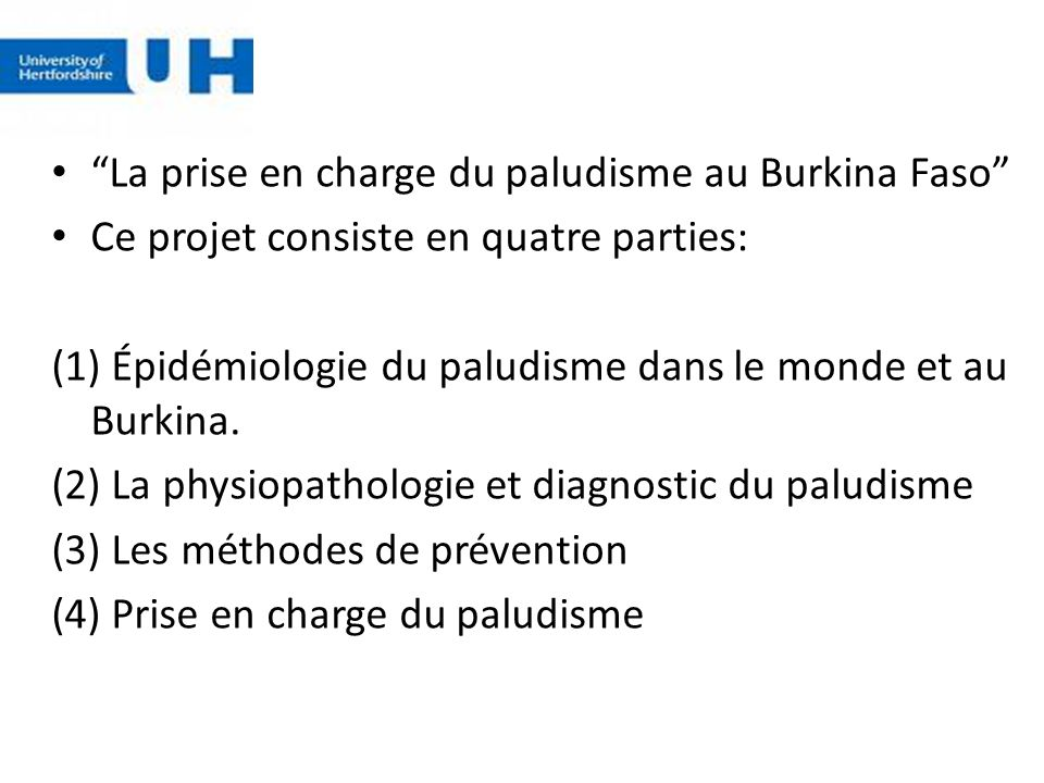 La prise en charge du paludisme au Burkina Faso
