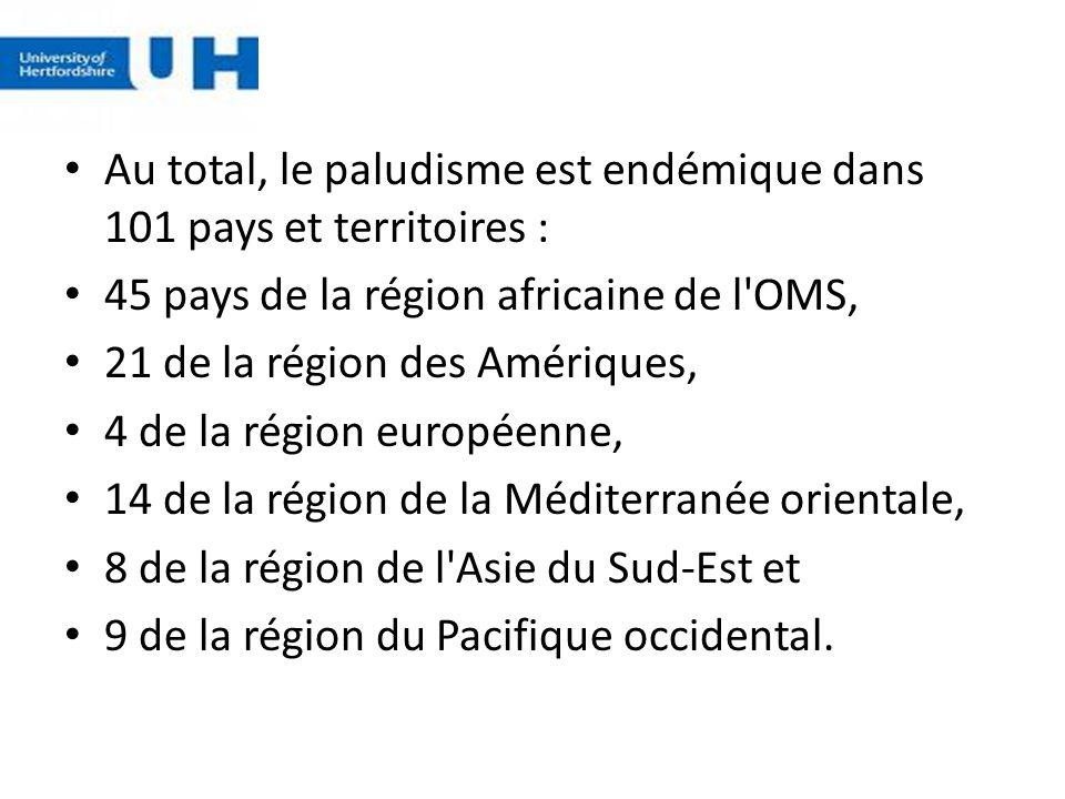 Au total, le paludisme est endémique dans 101 pays et territoires :