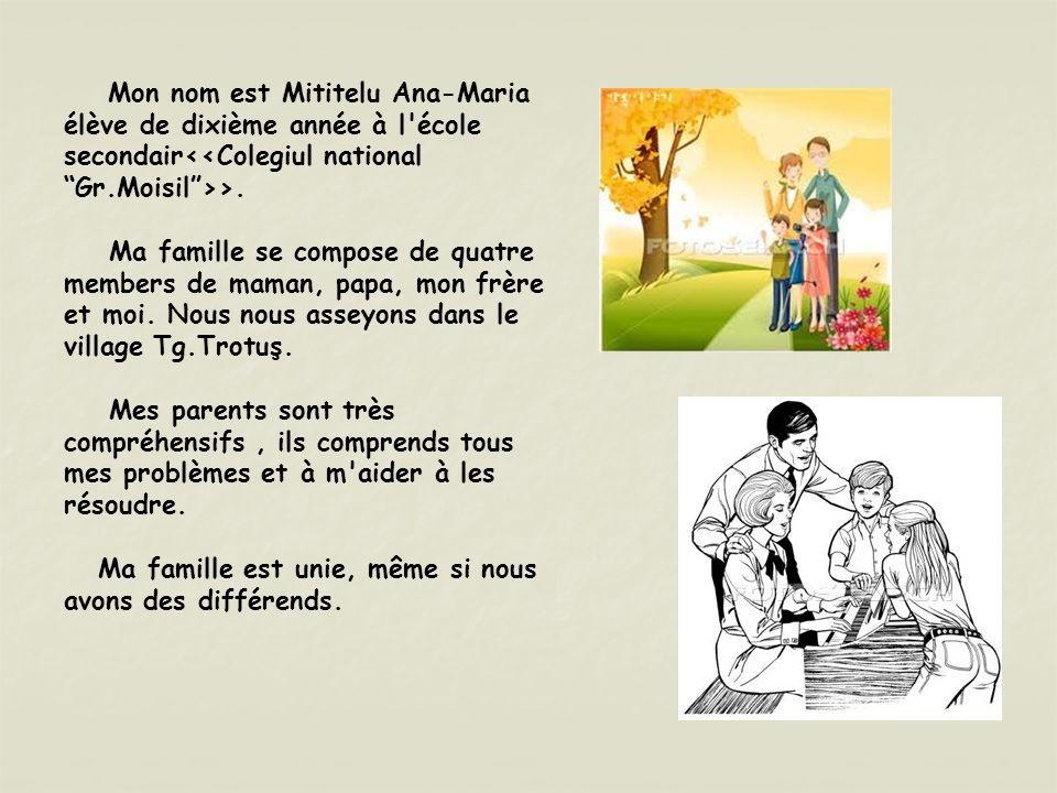 Mon nom est Mititelu Ana-Maria élève de dixième année à l école secondair<<Colegiul national Gr.Moisil >>.