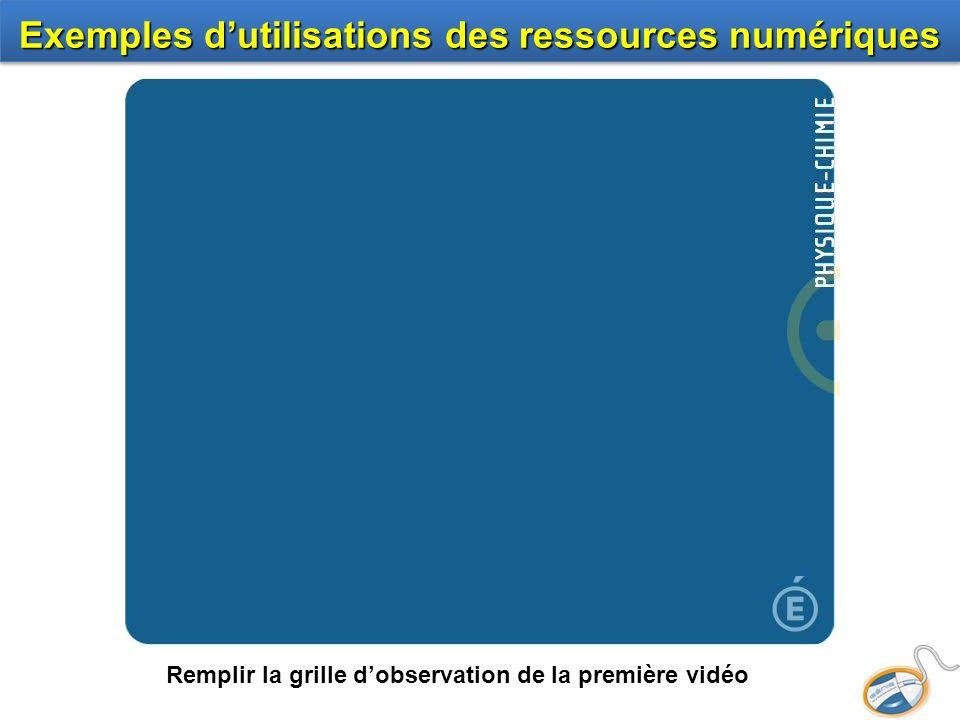 Exemples d'utilisations des ressources numériques