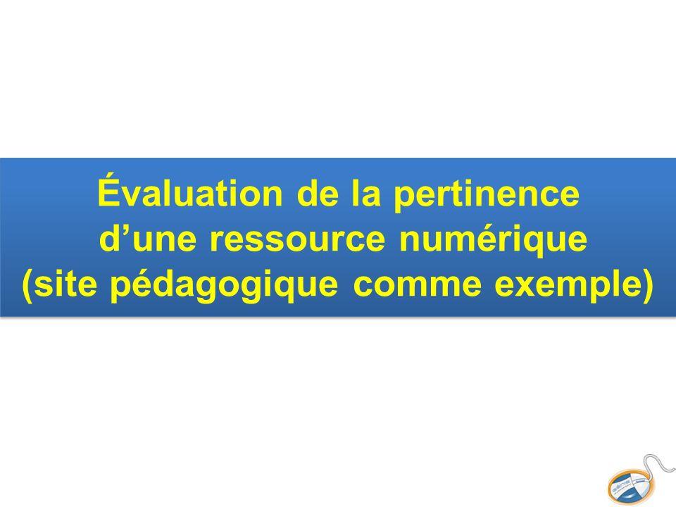 Évaluation de la pertinence d'une ressource numérique (site pédagogique comme exemple)
