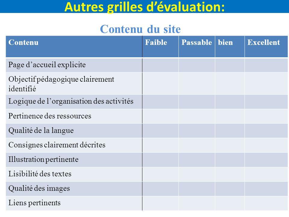 Autres grilles d'évaluation: