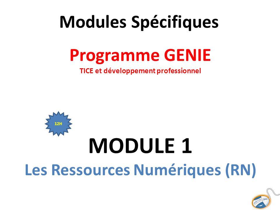 Modules Spécifiques Programme GENIE TICE et développement professionnel MODULE 1 Les Ressources Numériques (RN)
